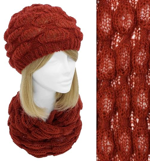 Other Inflated Bubble Knit Beanie & Infinity Scarf Set