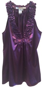 Max Studio Silk Collared Top Purple