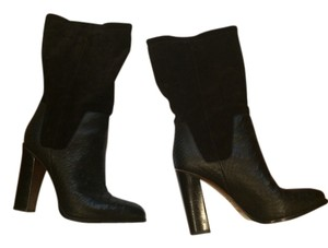 Vince Leather Mixed Media Suede Black Boots