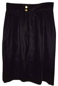 Chanel Vintage Velvet Silk Skirt Black