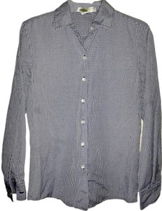 Geoffrey Beene Checkered Button Down Shirt Purple & White