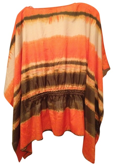 Item - Orange Brown Creme Drawstring Tie Dye Tunic Size 6 (S)