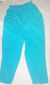 Diane Gilman Silk Straight Pants Aqua