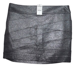 Express Bandage Shimmering Stretchy New With Tags Mini Skirt Dark Silver