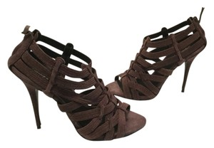 Elizabeth and James Top Stitching $40 OFF NEW brown suede all leather caged gladiator stiletto heels back zippers Sandals