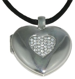 giorgio martello Giorgio Martello Sterling Silver Heart Locket w Cubic Zirconium Pendant Necklace, New in Box