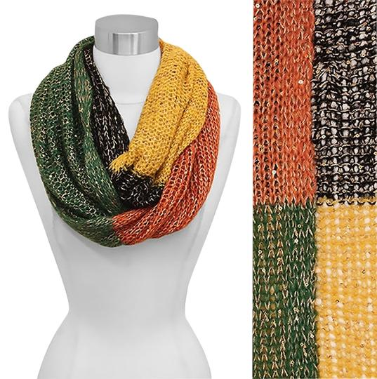 Other Women Sequin Deco Multi Color Block Loop/Infinity Scarf