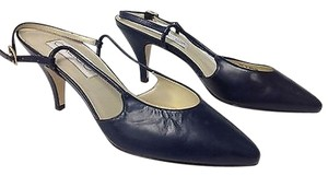 Calico Navy Leather Pointy Toe Slip On Ankle Buckle Slingbacks B2841 Blue Pumps
