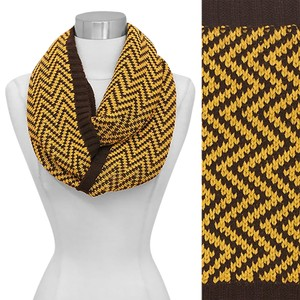 Chevron Pattern Knit Loop/Infinity Scarf