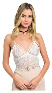 Caged Bralette Lace Cami Top Ivory