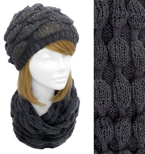 other Inflated Bubble Knit Beanie & Infinity Scrf Set