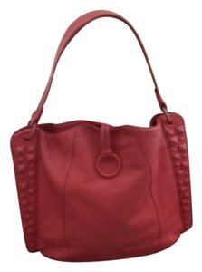 BCBGMAXAZRIA Leather Studded Tote in Coral