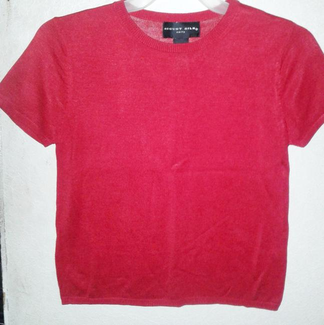 August Silk Knit Scoop Neck Top Red