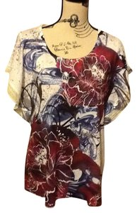 One World Sequins Multi-colored Light Weight Floral Lace Trim Top Crimson & Midnight Blue