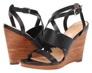 Cole Haan Strappy Wedge Nikeair Leather Black Sandals