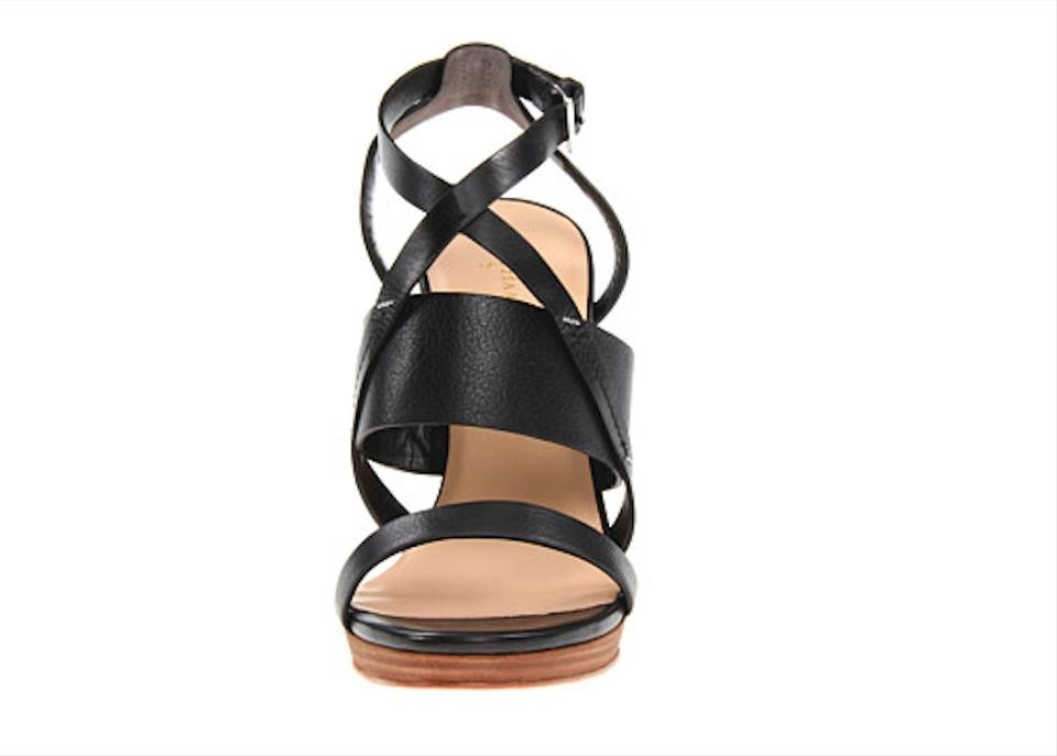 3855aa7bd Cole Haan Strappy Wedge Nikeair Leather Black Sandals Image 10.  1234567891011