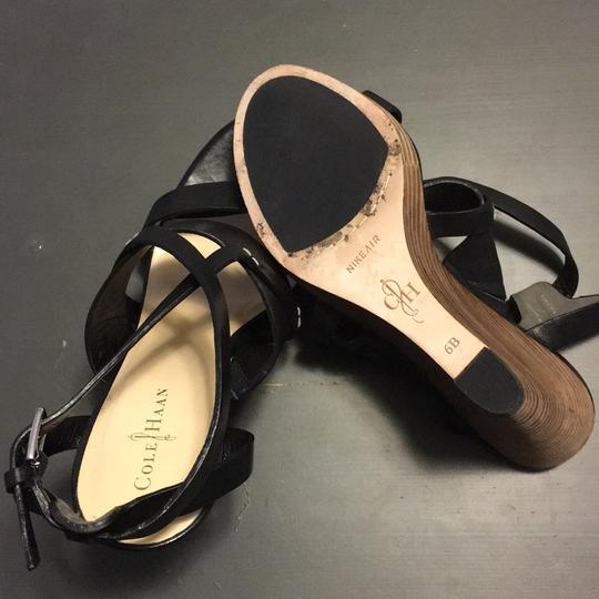 32e520a5f Cole Haan Strappy Wedge Nikeair Leather Black Sandals Image 7
