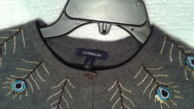 Lands' End Grey Turquoise Cardigan Image 1