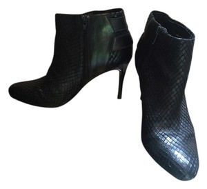 Ann Taylor Buckles Leather Snake Embossed Black Boots