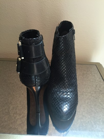 Ann Taylor Buckles Leather Snake Embossed Black Boots Image 2
