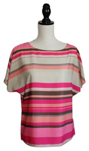 Ann Taylor LOFT Top Fuschsia, Grey and Coral