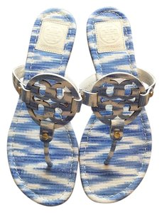 Tory Burch Miller Pastel Blue and White Sandals