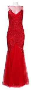 Mignon Sleeveless Sheer Neckline Sequin Trumpet Gown Dress