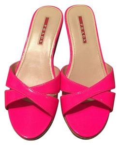 Prada Calzature Donna Cork Sandals Neon PINK - ROSE FLUO Wedges