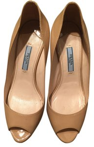 Prada Nude Patent Leather Beige Wedges