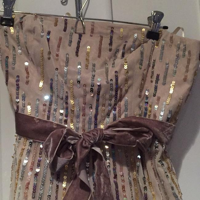 BCBGMAXAZRIA Sequins Tulle Tea Length Formal Night Out Dress Image 1