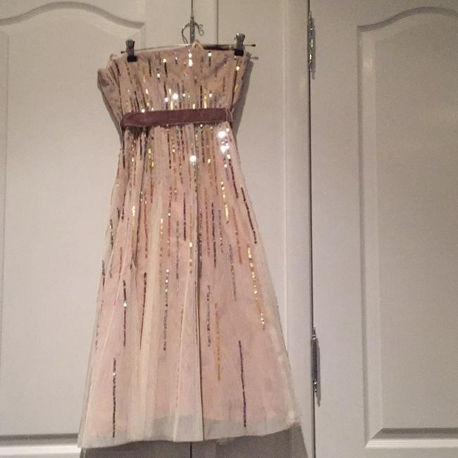 BCBGMAXAZRIA Sequins Tulle Tea Length Formal Night Out Dress Image 2