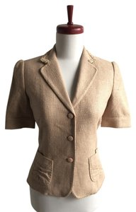 Saks Fifth Avenue Silk Short Sleeve Jacket tan Blazer