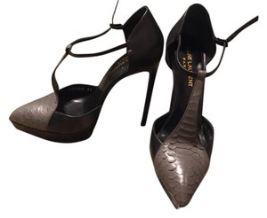 Saint Laurent Janis T-strap Leather Python Black/Grey Pumps