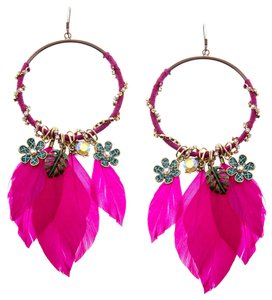 Betsey Johnson Betsey Johnson Pink Fuchsia Feathered Drop Hoop Earrings NWT $65