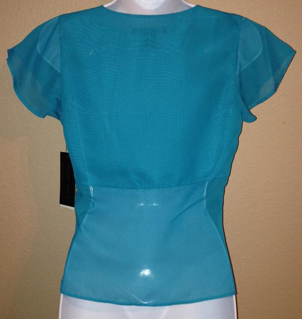 Kenneth Cole New York Ny Sheer Turquoise Blue Night Out Date Night Xs Extra Small Xsmall Top Turk