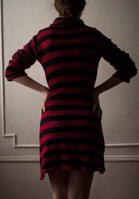 Kathy Kemp short dress Black and red Sweater Fall Winter Sweater Striped Stripes Neck Turtleneck Waif Knit Knitted Anna Nyc East Village Nyc Maxi Fall on Tradesy
