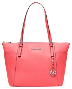 Michael Kors Silver Leather Jet Set Tote in Coral