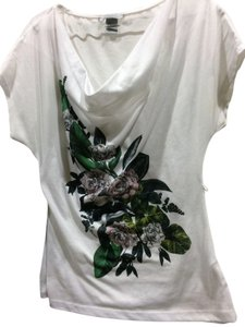 H&M T Shirt white with floral pattern