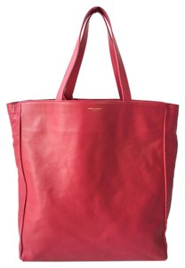 Saint Laurent Ysl Suede Gold Hardware Shopping Tote in Pink