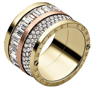 Michael Kors NWT Michael Kors Multi Stone Gold / Rose Gold Barrel RIng Size 7 Pave and Stone NEW