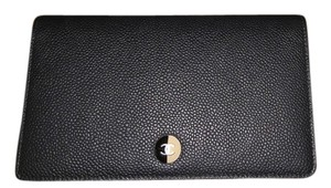 Chanel Chanel black caviar and tan Wallet