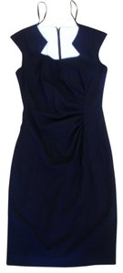 Calvin Klein Ruched Cap Sleeve Cut Out Scoop Neckline Slimming Dress