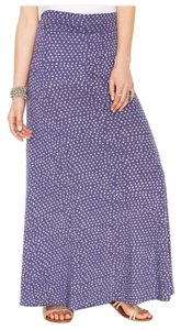 Alternative Apparel Polka Dot Blue Soft Maxi Skirt Indigo Blue
