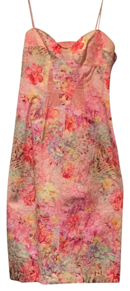 3ed52a9c16 David Meister Pink - Multi Floral Print with Spaghetti Straps Knee ...