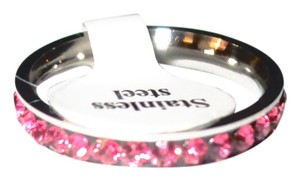 Unknown Stainless Steel Pink Eternity Rhinestone Ring Free Shipping
