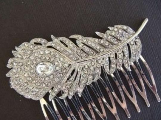 Silver Vintage Peacock Comb Hair Accessory