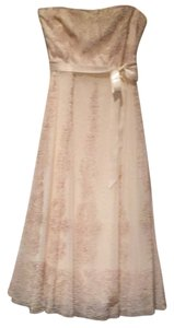 BCBGMAXAZRIA Embroidered Tea Length Strapless Formal Night Out Dress