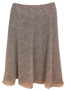 Liz & Co. Polka Dot Dotted Print A-line Polyester Skirt Black and White