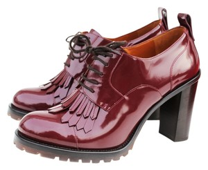 Valentino 39.5 W Derby Laceup Rubin Burgundy Boots
