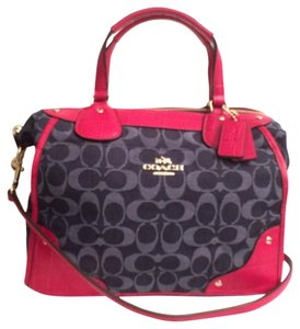Coach Leather Embossed Leather Satchel in Blue Red